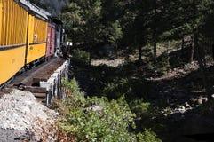 The Narrow Gauge Railway from Durango to Silverton that runs through the Rocky Mountains by the River Animas In Colorado USA Stock Images