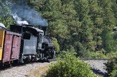 The Narrow Gauge Railway from Durango to Silverton that runs through the Rocky Mountains by the River Animas In Colorado USA Royalty Free Stock Image