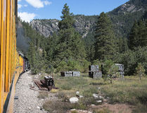 The Narrow Gauge Railway from Durango to Silverton that runs through the Rocky Mountains by the River Animas In Colorado USA Royalty Free Stock Images
