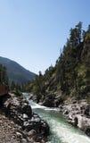The Narrow Gauge Railway from Durango to Silverton that runs through the Rocky Mountains by the River Animas In Colorado USA Stock Photo