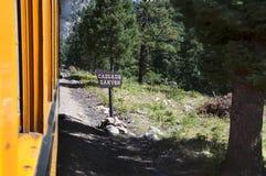 The Narrow Gauge Railway from Durango to Silverton that runs through the Rocky Mountains by the River Animas In Colorado USA Royalty Free Stock Photo