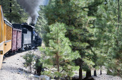 The Narrow Gauge Railway from Durango to Silverton that runs through the Rocky Mountains by the River Animas In Colorado USA Royalty Free Stock Image