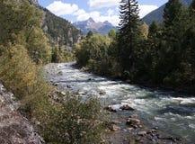 The Narrow Gauge Railway from Durango to Silverton that runs through the Rocky Mountains by the River Animas In Colorado USA Stock Photography