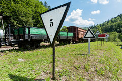 Narrow-gauge railway, steam train in Cisna, Poland Royalty Free Stock Photo