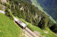 Narrow gauge railway. Switzerland. Royalty Free Stock Images