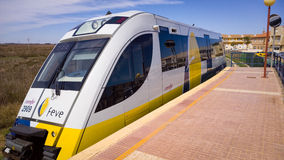 Narrow Gauge Railway Train. Run Renfe Feve at a rural station. Los Nietos, Cartagena, Spain Stock Photos