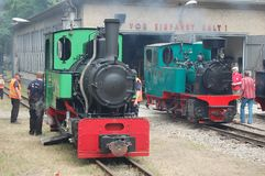 Narrow Gauge Steam Railway Train. At Berlin Wuhlheide station, locomotives at the shed royalty free stock images