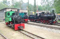 Narrow Gauge Steam Railway Train. At Berlin Wuhlheide station, locomotives at the shed stock photos