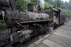 The narrow-gauge Steam train. In Leshan, China Stock Image
