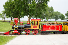 Narrow Gauge Train at Bay Beach Amusement Park. GREEN BAY WI - June 9, 2015:  Narrow gauge train engine at Bay Beach Amusement Park, a popular tourist attraction Stock Image