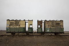Narrow gauge train compartments. Of British era rusting at Bostan Railway Station near Quetta, Pakistan Stock Photography
