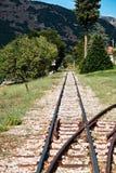Narrow Gauge Train Line, Kalavryta, Peloponnese, Greece. Narrow gauge train tracks, Kalavryta, Peloponnese, Greece. The narrow 750 mm gauge rack railway between stock images