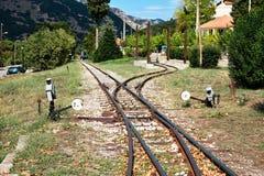Narrow Gauge Train Line, Kalavryta, Peloponnese, Greece. Narrow gauge train tracks, Kalavryta, Peloponnese, Greece. The narrow 750 mm gauge rack railway between stock photo