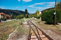 Narrow Gauge Train Line, Kalavryta, Peloponnese, Greece. Narrow gauge train tracks, Kalavryta, Peloponnese, Greece. The narrow 750 mm gauge rack railway between royalty free stock photography