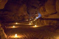 Narrow gorge The Siq in Petra at nignt Royalty Free Stock Image