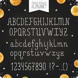 Narrow hand drawn font Stock Photos