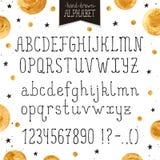 Narrow handdrawn font Stock Image