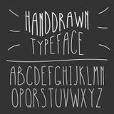 Narrow Handdrawn Mono Line Latin Font. Simple Slim Style Serif  Royalty Free Stock Photography