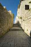 Narrow historical street. Narrow historical street in Croatia Royalty Free Stock Photos
