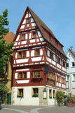 Narrow House. A very narrow half-timbered medieval house in a small German town Stock Photo