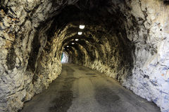 Narrow illuminated tunnel Stock Photos