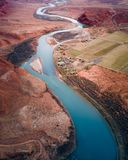 Narrow lake in the Grand Canyon shot from above stock image
