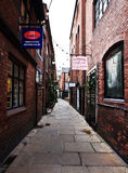 Narrow lane in Chester town, UK Royalty Free Stock Image