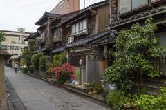 Narrow lane in Nagamachi. Kanazawa - Japan, June 8, 2017: Narrow lane in Nagamachi,the historical samurai district in Kanazawa royalty free stock images