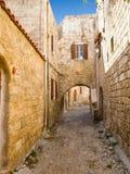 Narrow lane on Rhodes Stock Photo