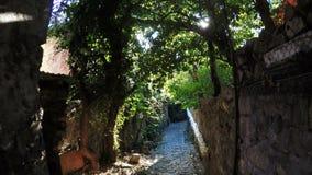 Narrow lane with sun in frame. Down narrow lane mountain village Traffic Cameras stock video footage
