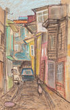 Narrow lanes of Istanbul Royalty Free Stock Photos