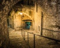 Narrow lappade gatan i den gamla staden på natten, Frankrike royaltyfri bild