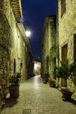 Narrow lappade gatan med blommor i den gamla byn Tourrettes royaltyfria bilder
