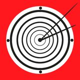 Narrow looking black and white clock at the red background Royalty Free Stock Photography