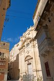Malta, Three Cities, Medieval architecture in L-Isla, Valletta. Narrow Medieval square and buildings with wooden, colorful balconies in L-Isla, one of the Three Royalty Free Stock Photos