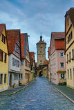 Narrow medieval street with hdr toning in Rothenburg Royalty Free Stock Image