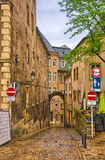Narrow medieval street in Luxembourg, Benelux, HDR Stock Photo
