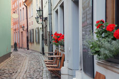 Narrow medieval street Stock Images