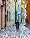 Narrow medieval street in the old city of Riga, Latvia. Stock Image