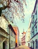Narrow medieval street in old city of Riga, Latvia Stock Photos