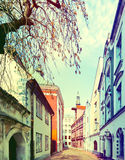 Narrow medieval street in old city of Riga, Latvia Royalty Free Stock Photography