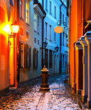 Narrow medieval street in the old Riga city Royalty Free Stock Image