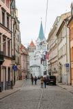 Narrow medieval street in the old Riga city, Latvia. Royalty Free Stock Photos