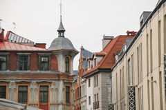 Narrow medieval street in the old Riga city, Latvia. Stock Photography