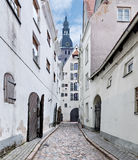 Narrow medieval street in old Riga city, Latvia Stock Photos