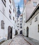 Narrow medieval street in old Riga city, Latvia Stock Photos