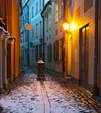 Narrow medieval street in old Riga city, Latvia Royalty Free Stock Photos