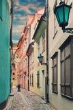Narrow medieval street in old Riga, Latvia Royalty Free Stock Photos