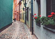 Narrow medieval street in old Riga, Latvia Royalty Free Stock Photography