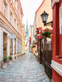 Narrow medieval street in old town Riga. Stock Photography